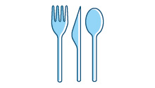 Teaspoons, disposable cutlery, drinking straws and stirrers