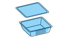Pans/trays used for packaging (not domestic)